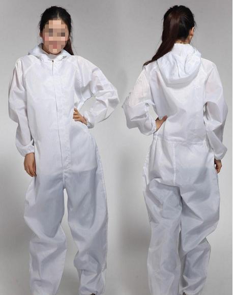 Anti-static Siamese suit white stripes
